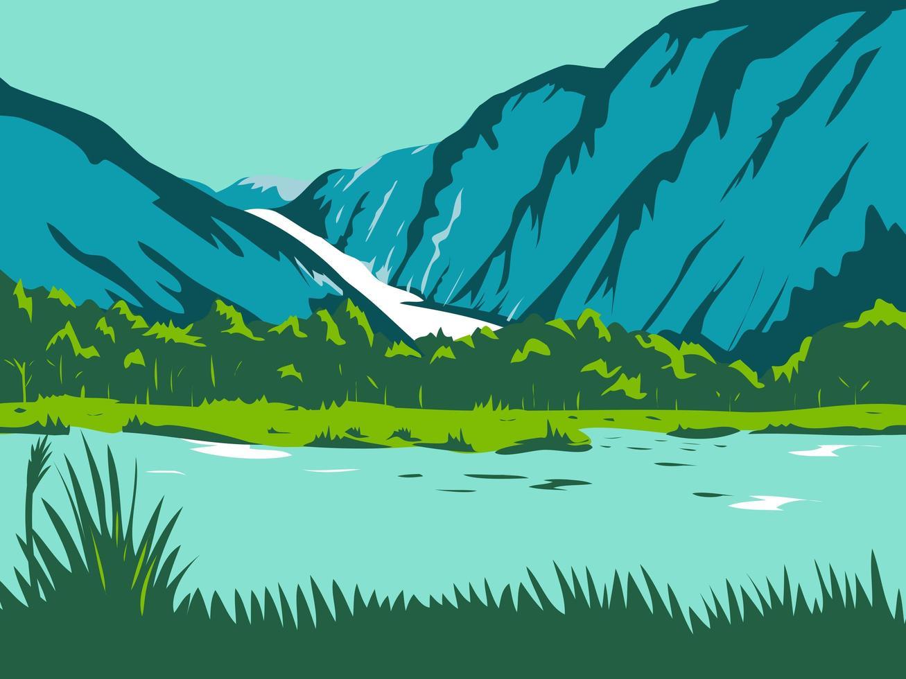 glacier du renard et glacier franz josef wpa vecteur