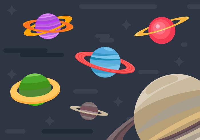 Anneaux de Saturne Planètes Illustration de fond vecteur