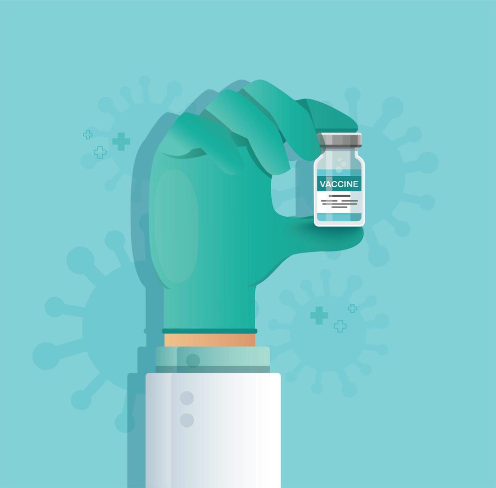 main tenant le flacon de vaccin. concept de vaccination. soins de santé et protection. vecteur