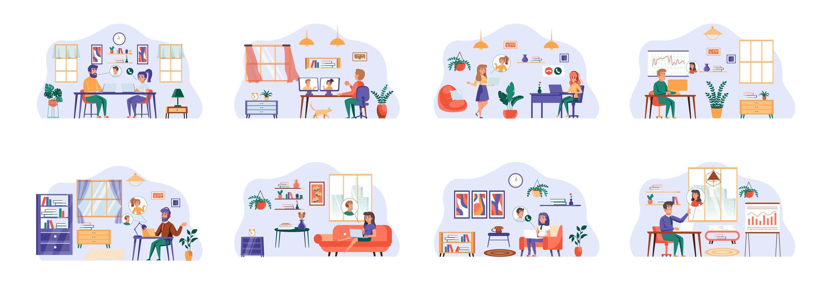 vidéoconférence de scènes avec des personnages plats. vecteur