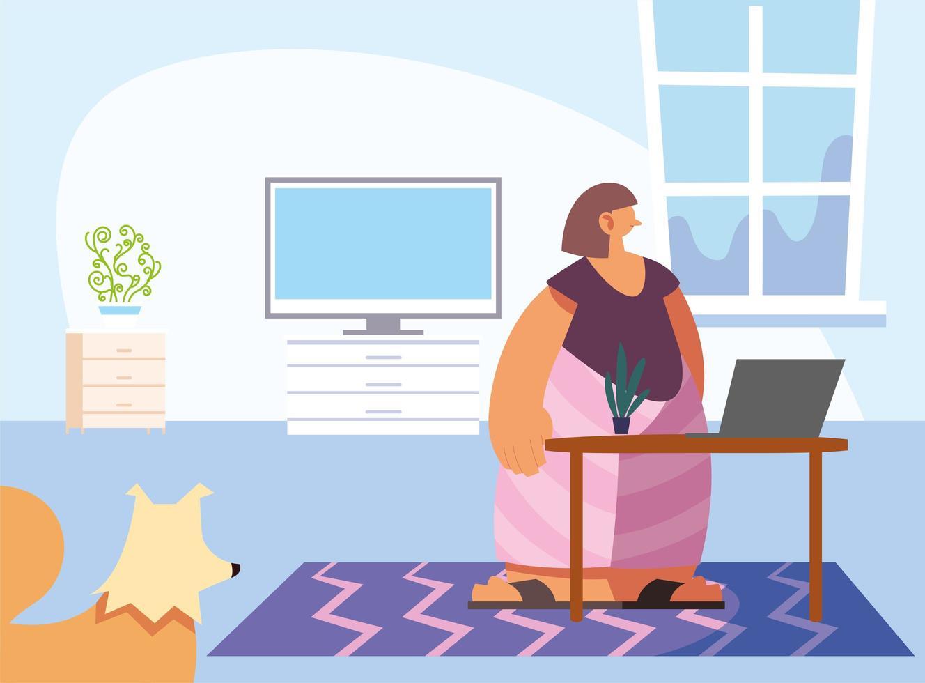 femme et animal domestique à la maison vecteur