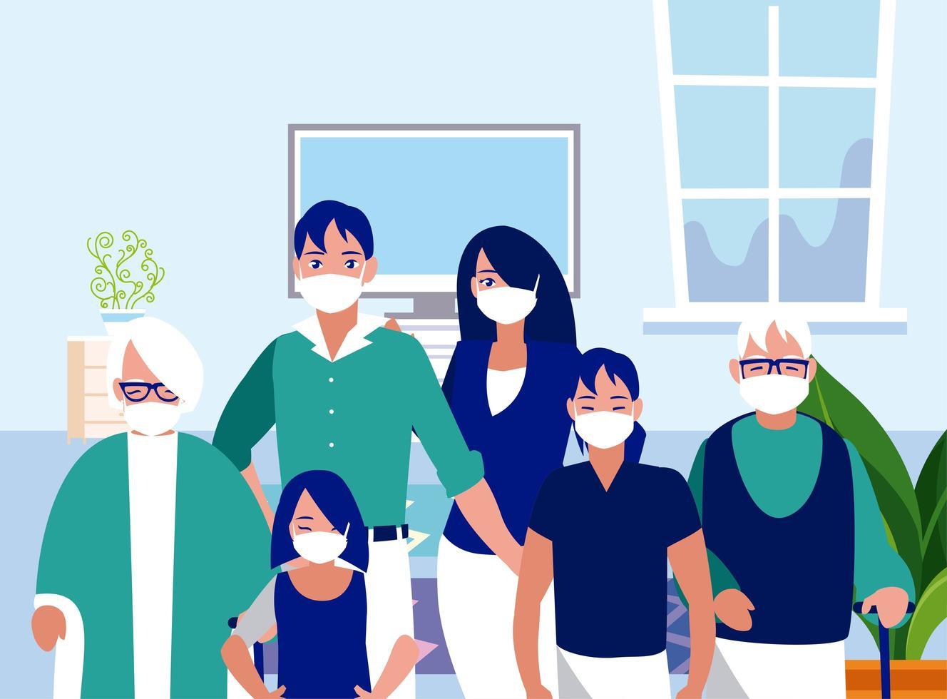 famille avec des masques à la conception de vecteur à la maison