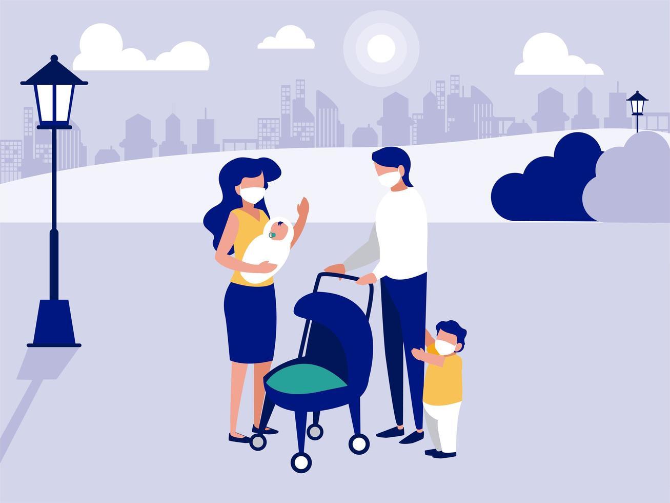 famille avec des masques au parc en face de la conception de vecteur de ville