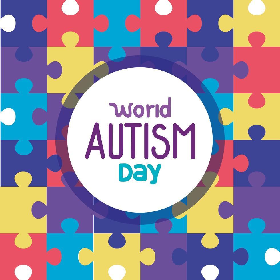 journée mondiale de l'autisme avec des pièces de puzzle vecteur