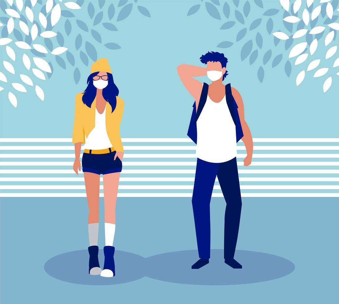femme et homme avec masque à l & # 39; extérieur de la conception de vecteur