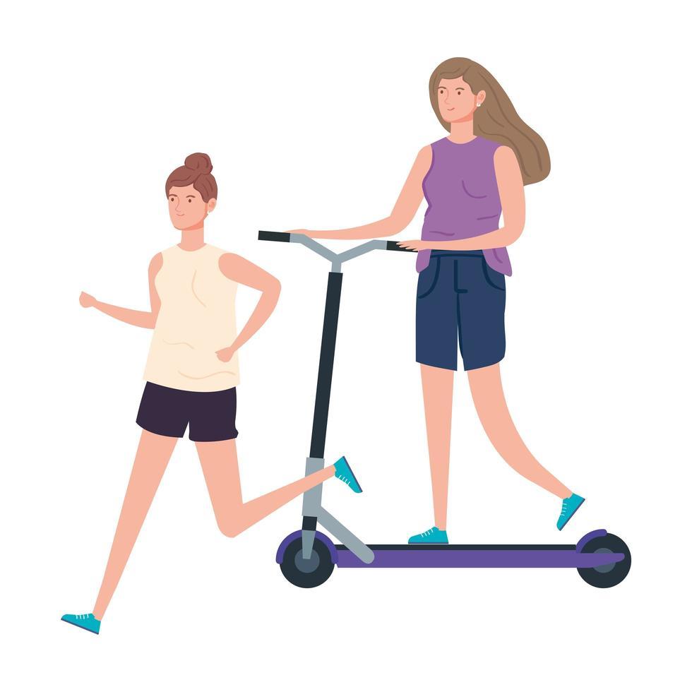 femmes avec personnage avatar scooter vecteur