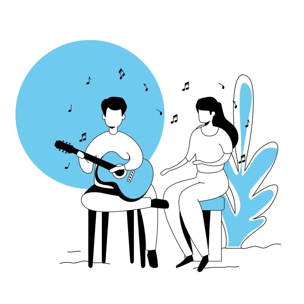 couple avec icône isolé de guitare vecteur