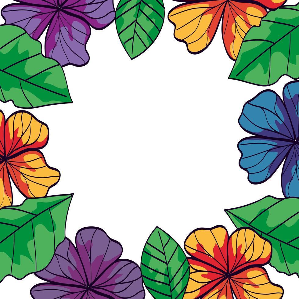 cadre de fleurs et de branches avec des feuilles naturelles vecteur