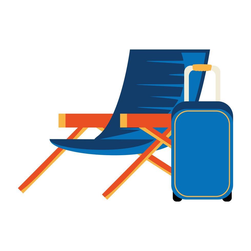 chaise d'été avec icône isolé de valise à roulettes vecteur