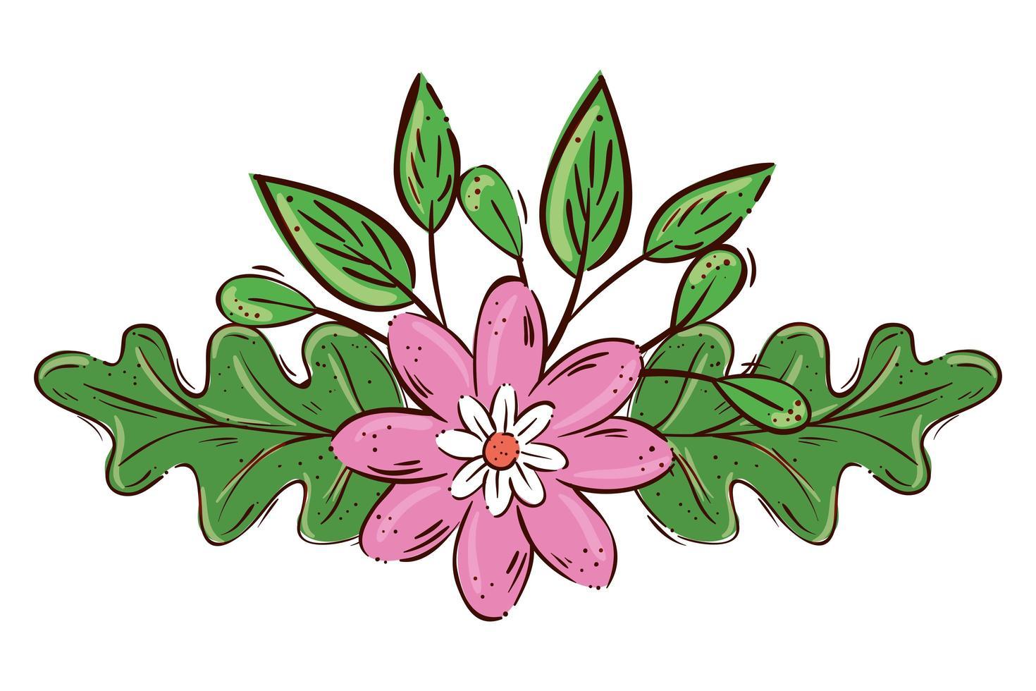Jolie fleur rose avec icône isolé branche et feuilles vecteur