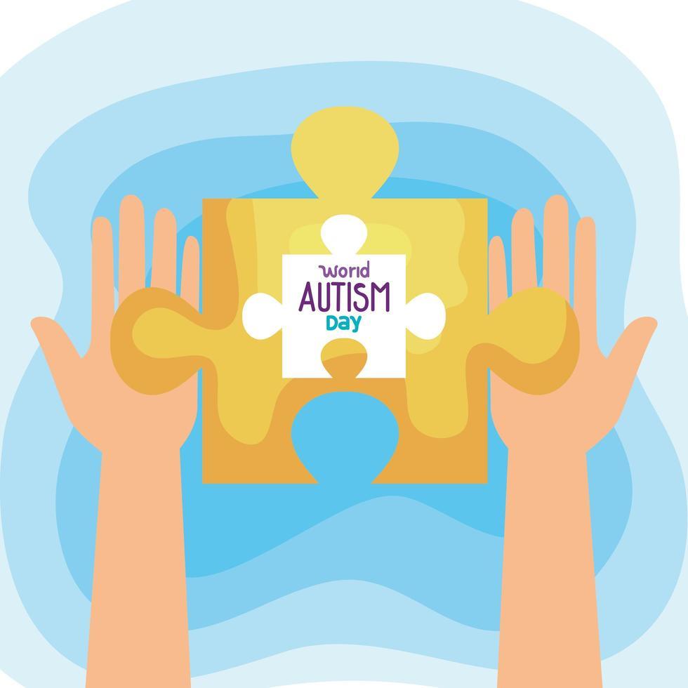journée mondiale de l'autisme avec mains et pièce de puzzle vecteur