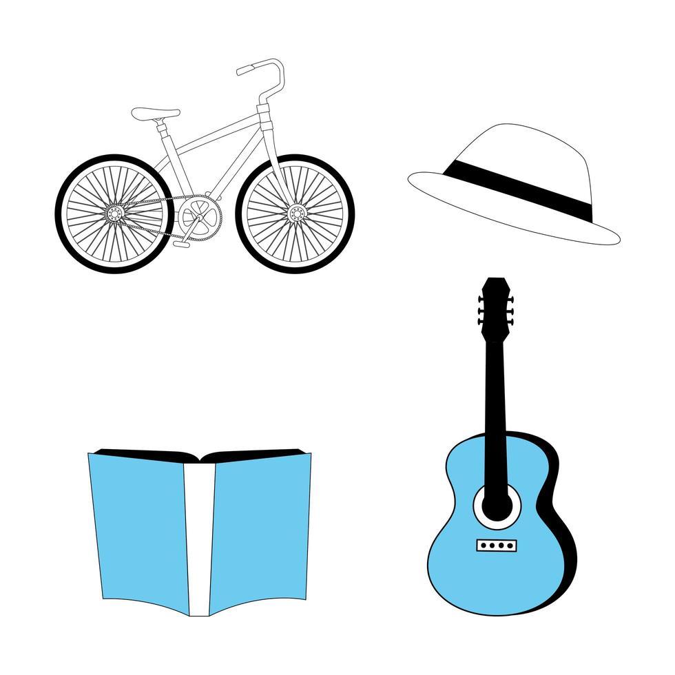 instrument de guitare et définir des icônes vecteur