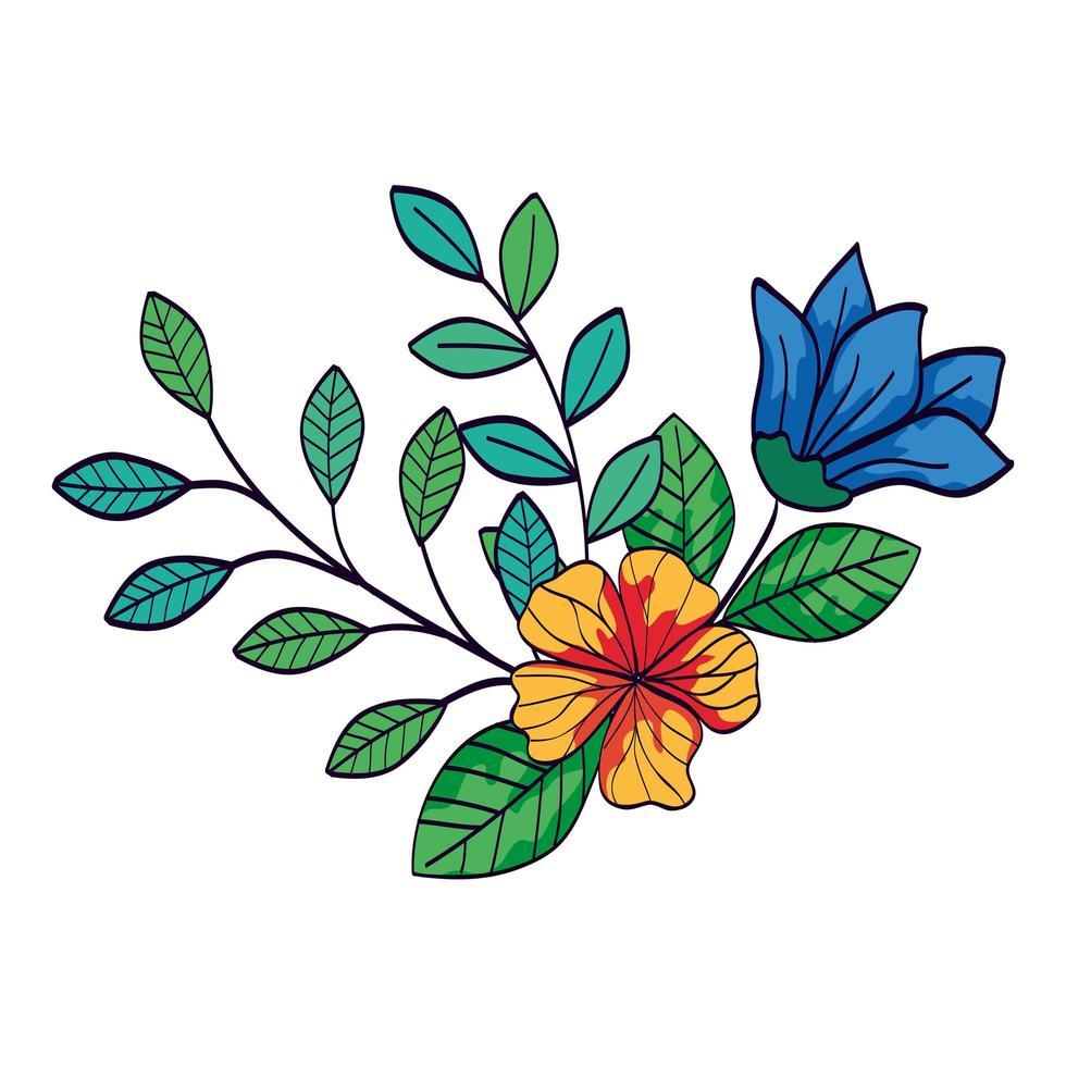 jolies fleurs de couleur bleu et jaune avec des branches et des feuilles vecteur