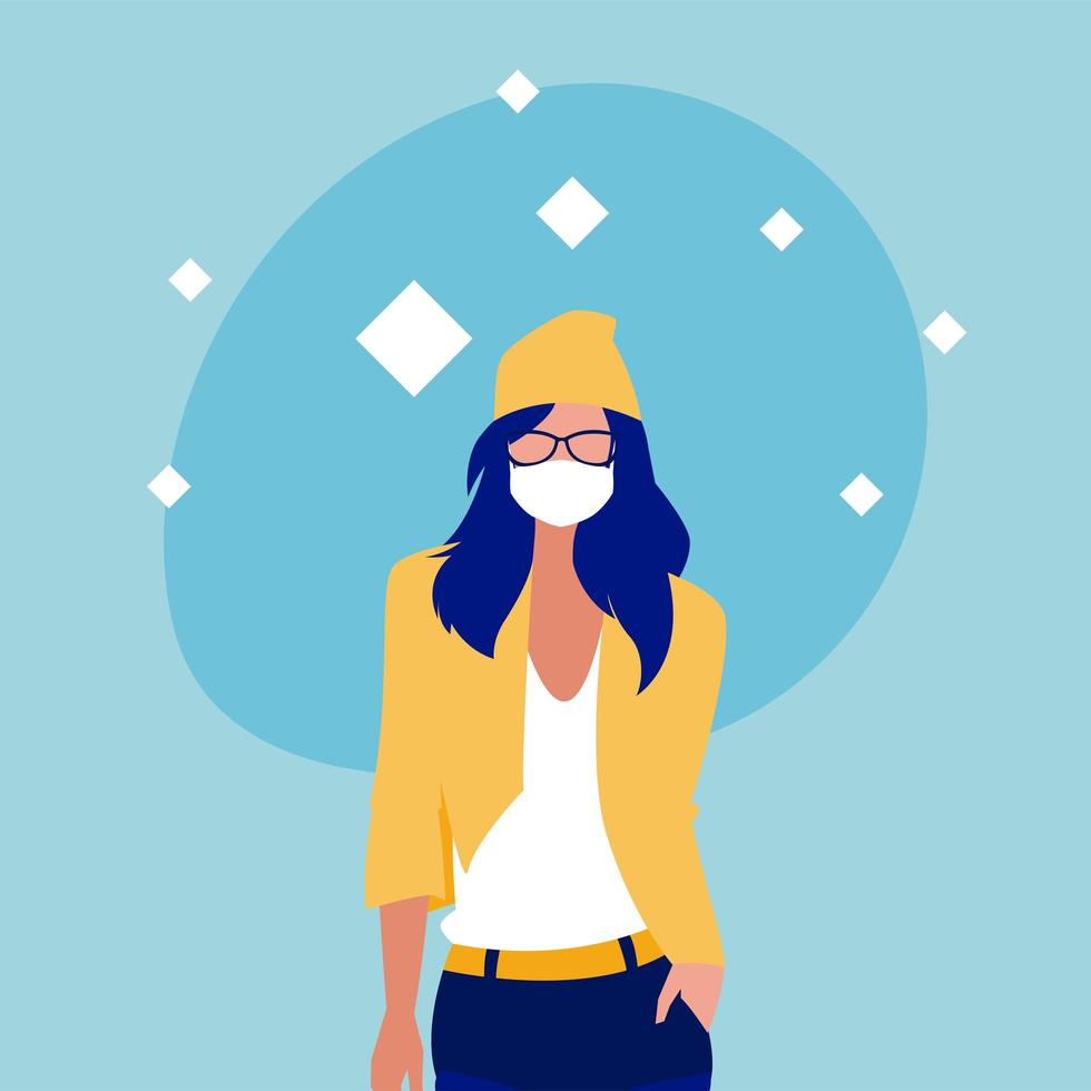 femme avec conception de vecteur de masque