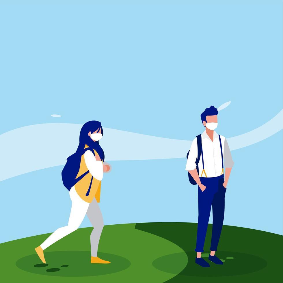 avatars femme et homme avec des masques en dehors de la conception de vecteur