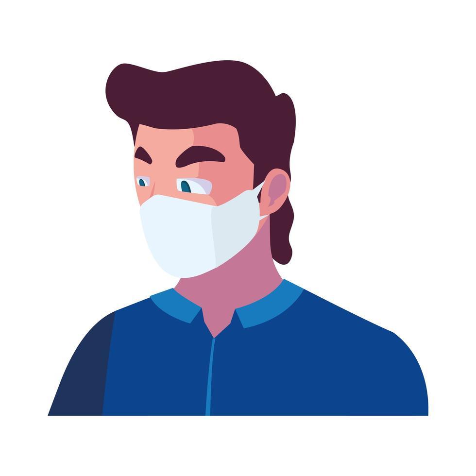opérateur de l'industrie portant un masque facial au travail vecteur