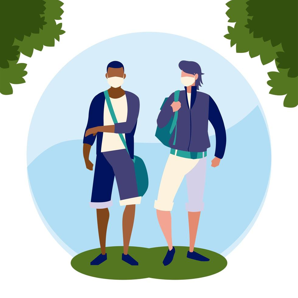 avatars d & # 39; hommes avec des masques en dehors de la conception de vecteur