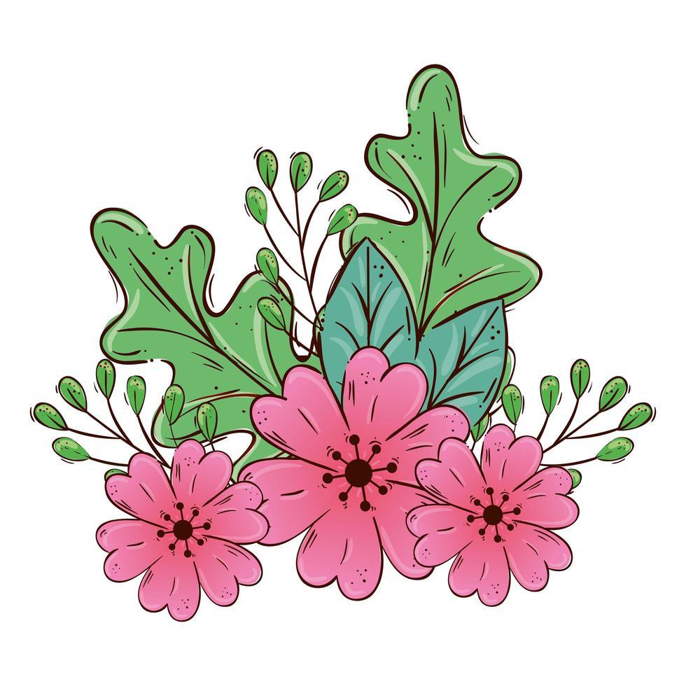 jolies fleurs roses avec des branches et des feuilles icône isolé vecteur