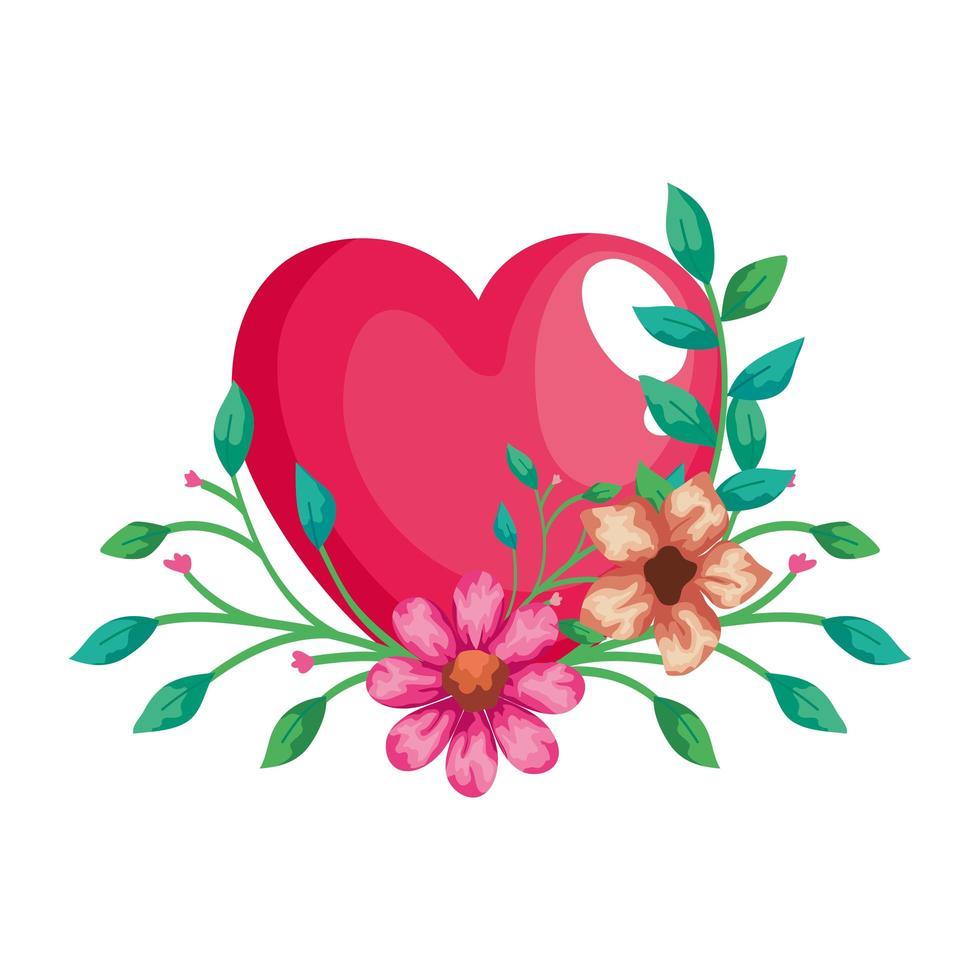 joli coeur rose avec décoration de fleurs et de feuilles vecteur