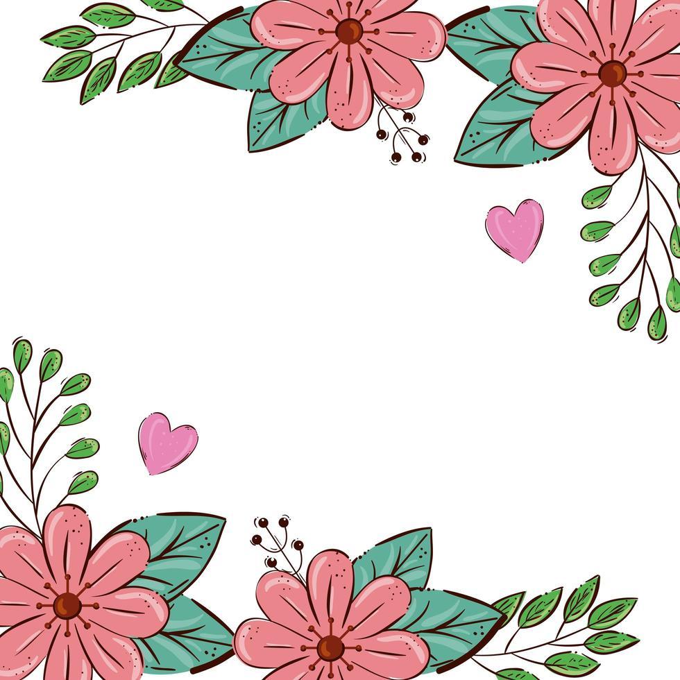 cadre de fleurs couleur rose avec feuilles et coeurs vecteur