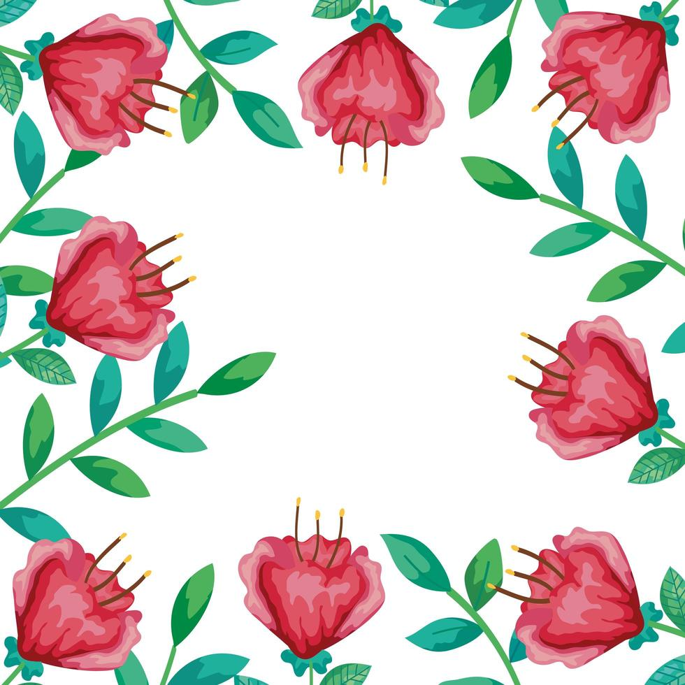cadre de fleurs rouges avec des branches et des feuilles vecteur
