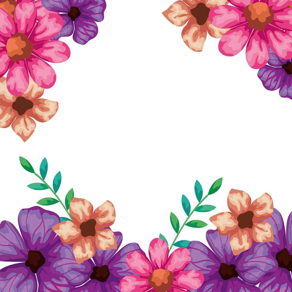 cadre de fleurs avec des branches et des feuilles vecteur