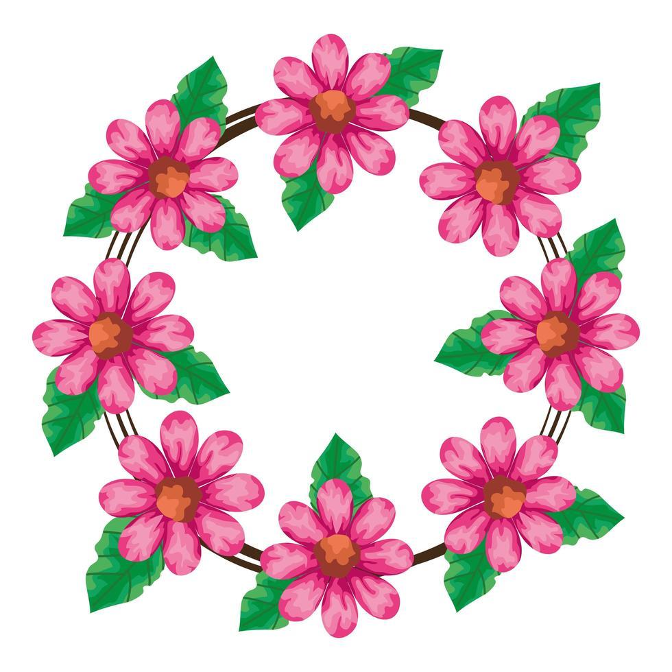 cadre circulaire de fleurs couleur rose avec feuilles naturelles vecteur