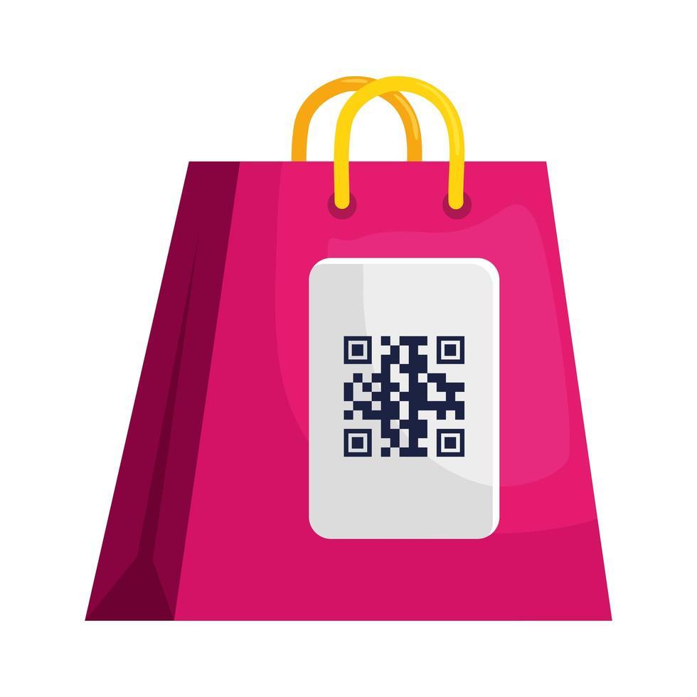 code qr sur la conception de vecteur de sac
