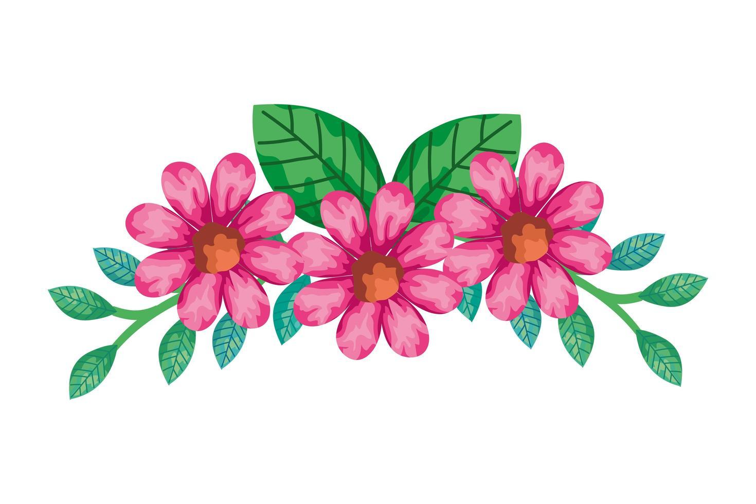 décoration de jolies fleurs de couleur rose avec des branches et des feuilles vecteur