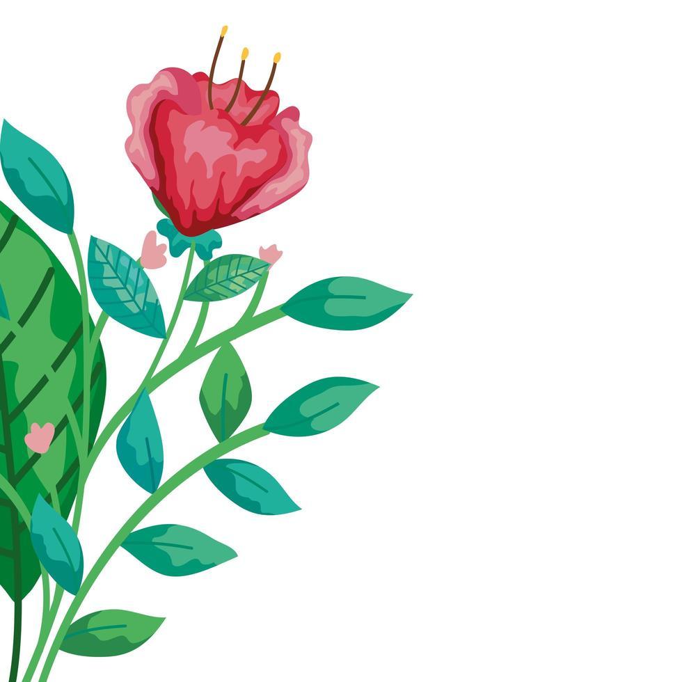 jolie fleur rouge avec des branches et des feuilles icône isolé vecteur