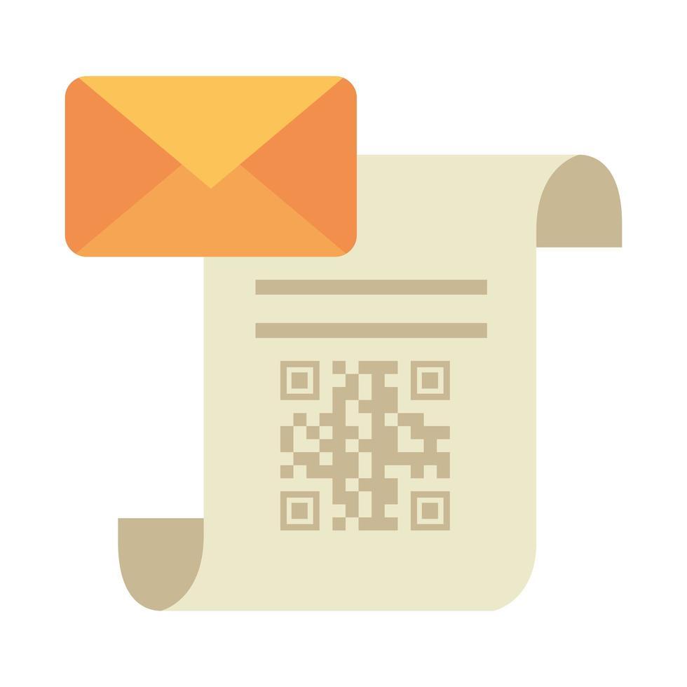code qr sur papier de reçu et conception de vecteur d'enveloppe