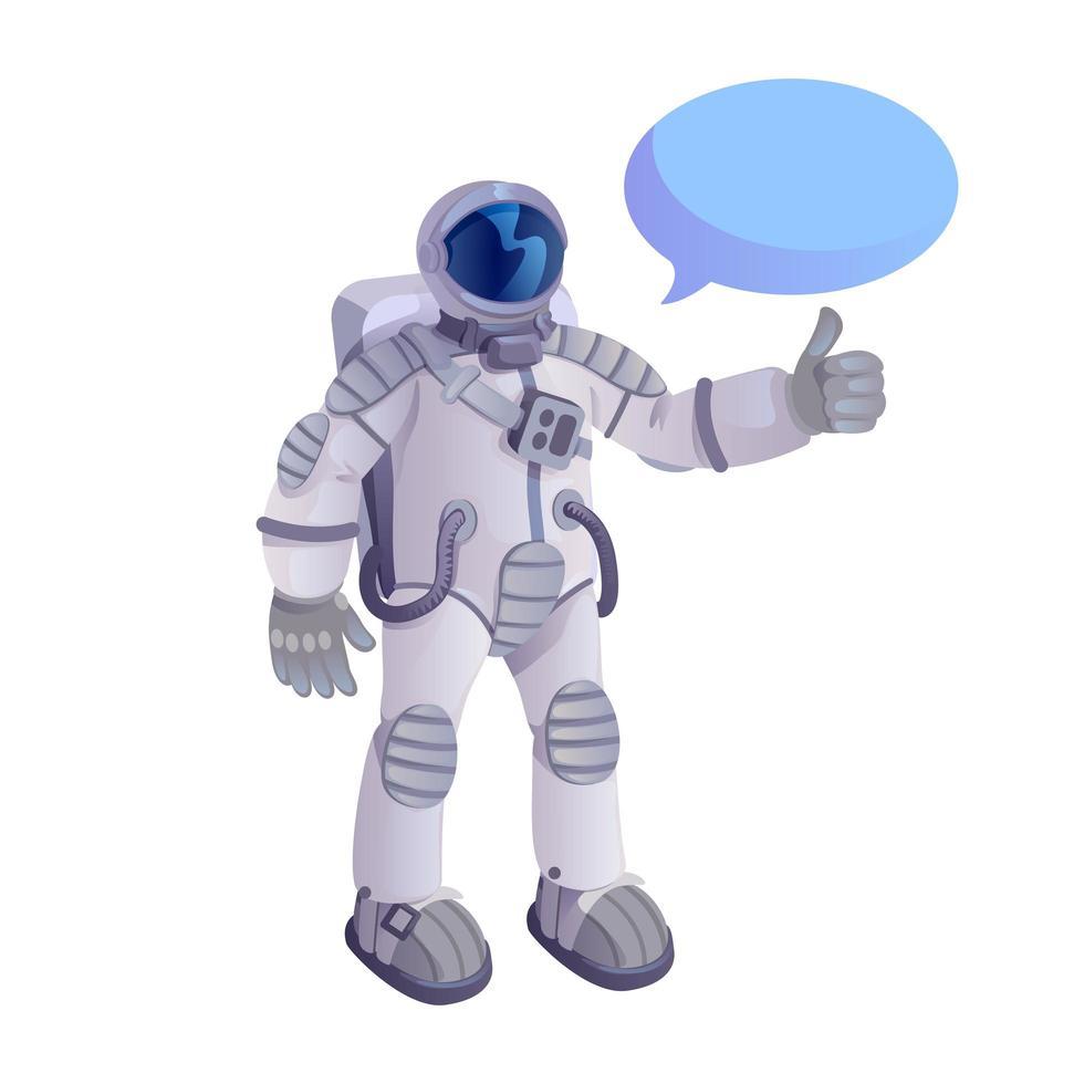 astronaute montrant le pouce vers le haut illustration vectorielle de dessin animé plat vecteur
