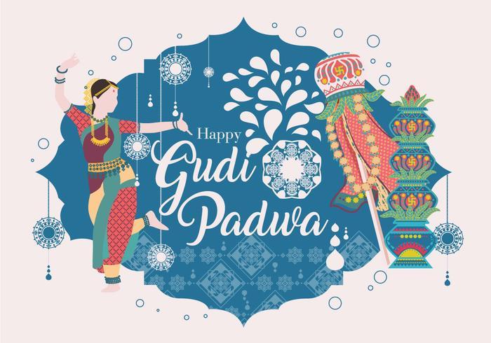 Vecteur de Gudi Padwa heureux