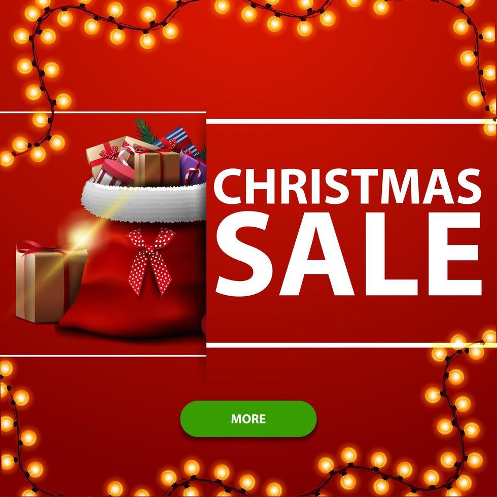 vente de noël, bannière de remise carré rouge avec guirlande, bouton vert et sac du père noël avec des cadeaux vecteur