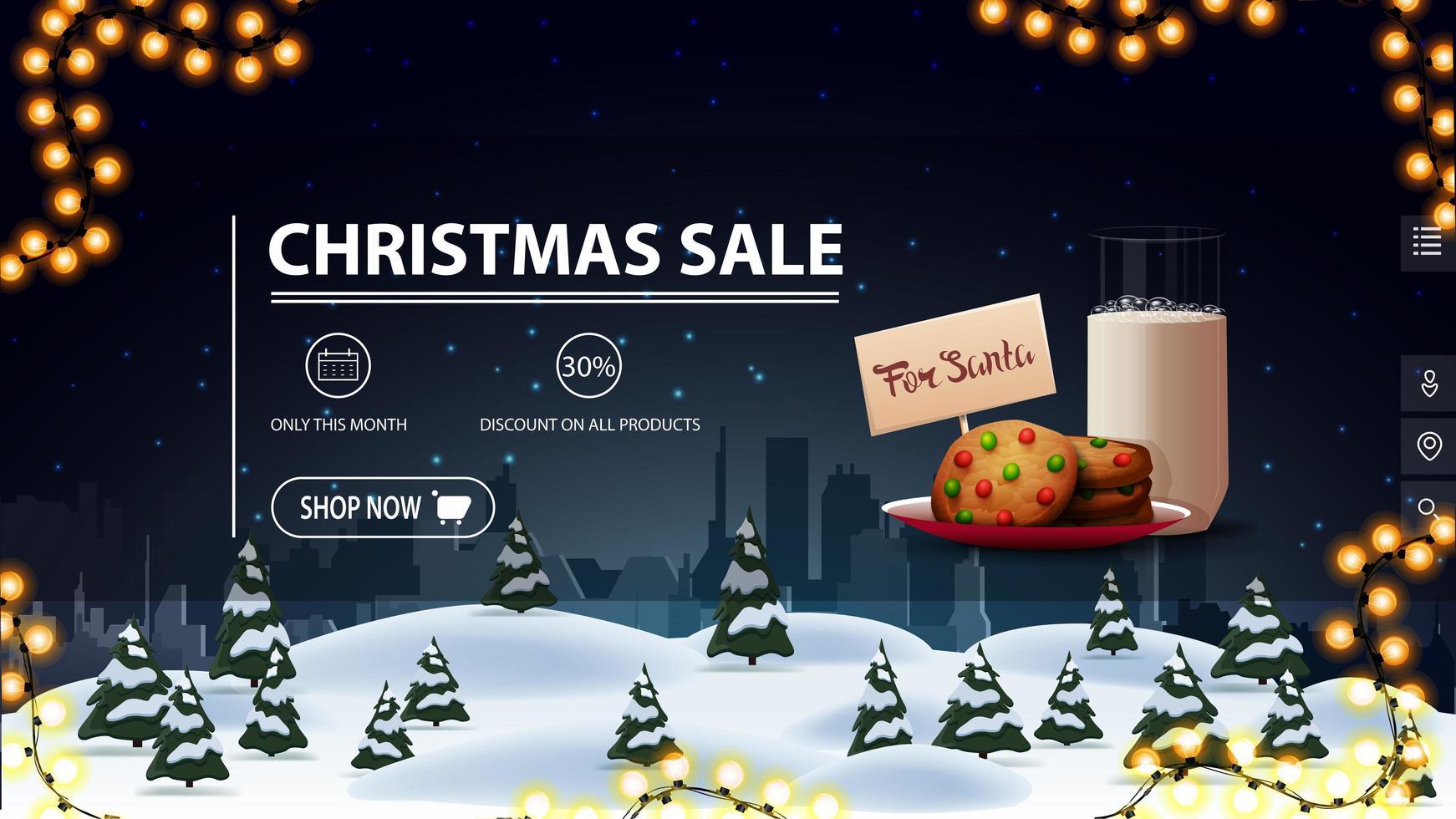 vente de Noël, jusqu'à 30 de réduction, bannière de réduction bleue pour site Web avec bouton. guirlande, biscuits avec un verre de lait pour le père noël et paysage de nuit de dessin animé sur le fond vecteur
