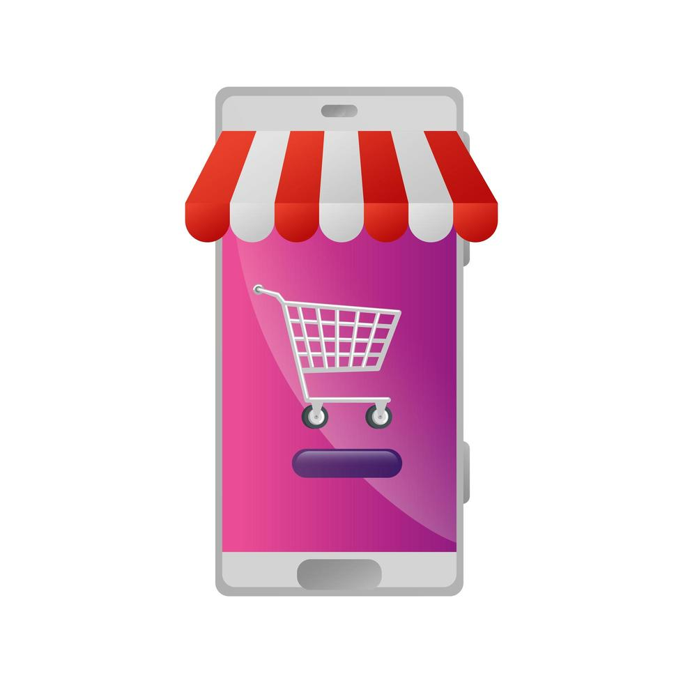 smartphone avec magasin de parasols et panier shopping vecteur