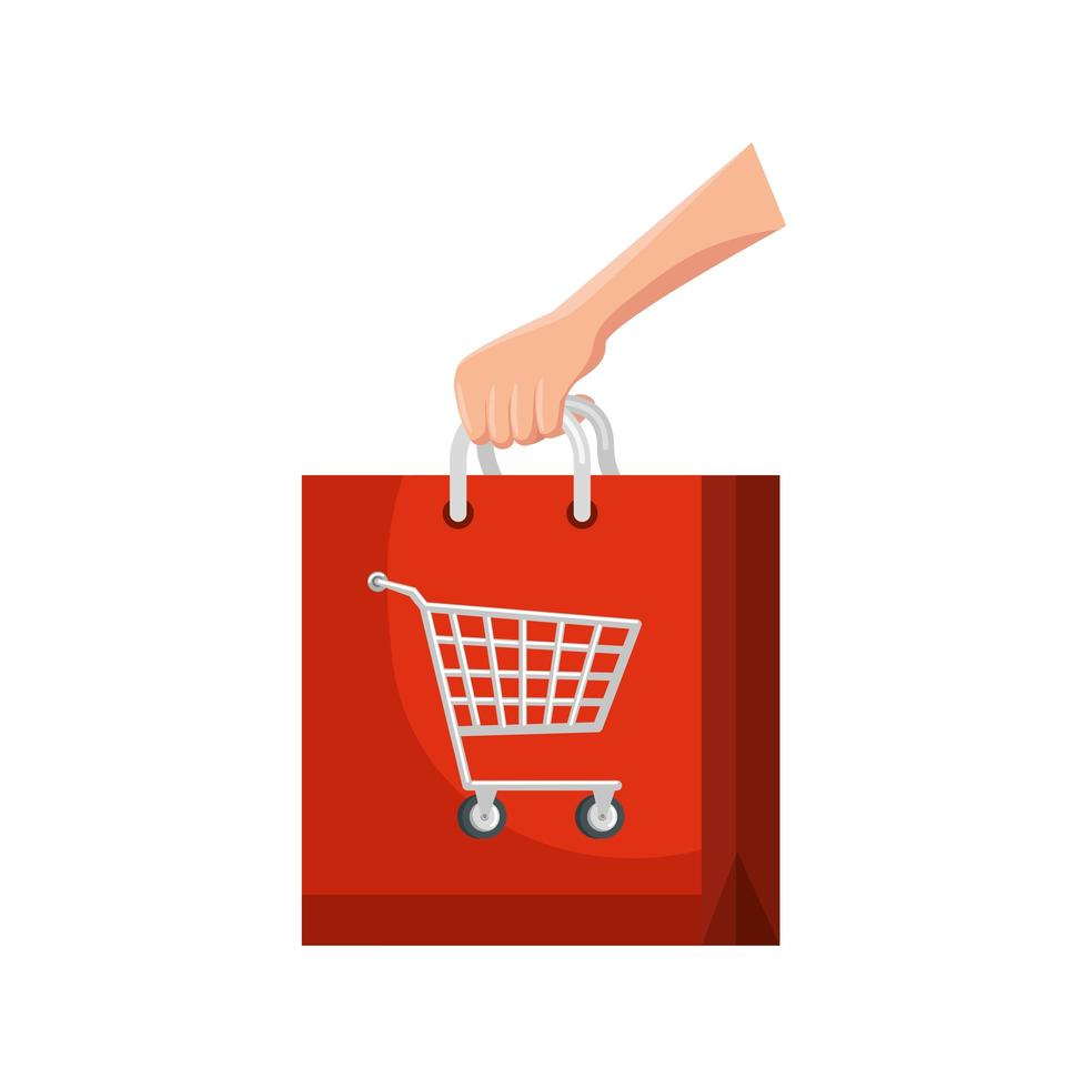 main et sac avec panier shopping icône isolé vecteur