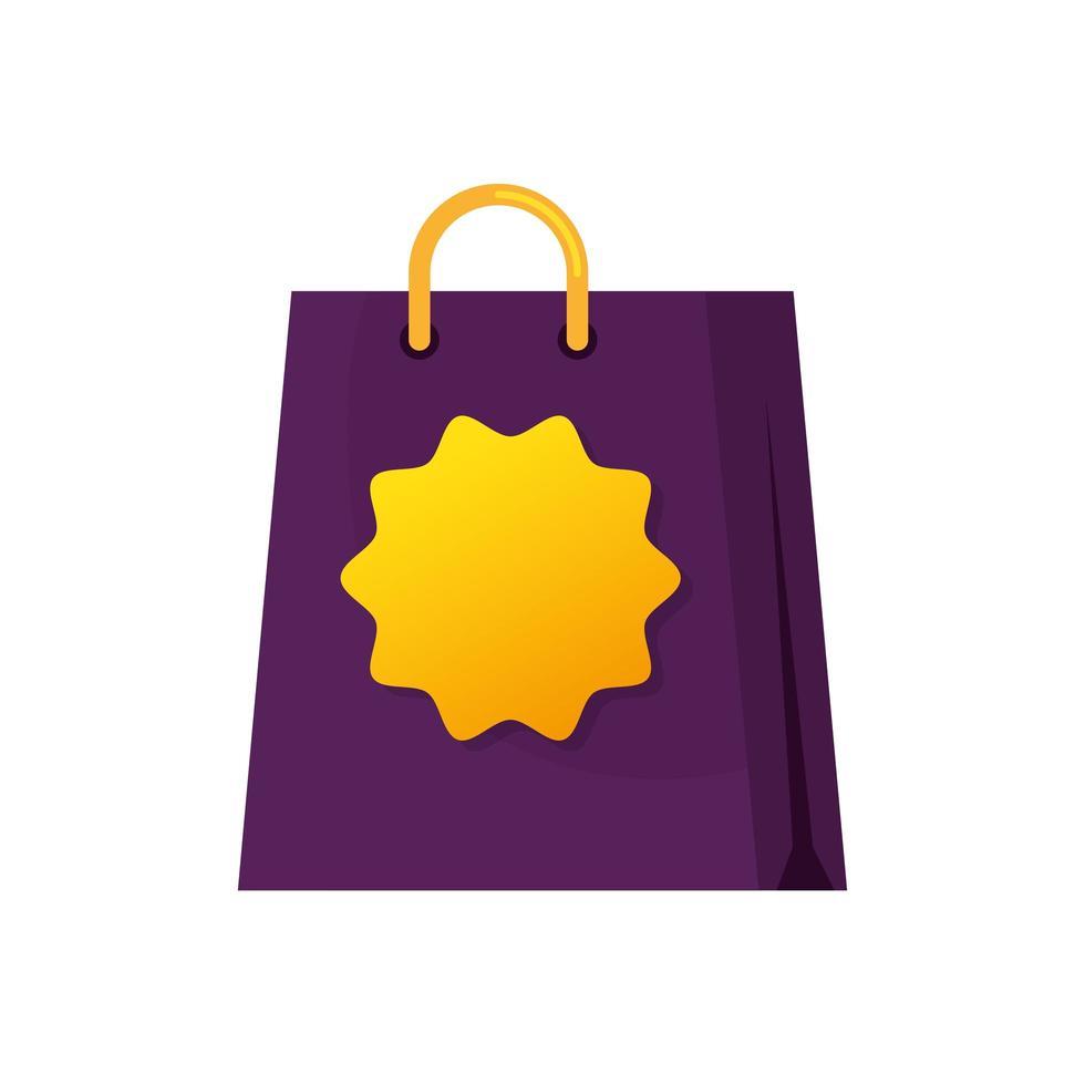 sac shopping avec icône isolé de timbre vecteur