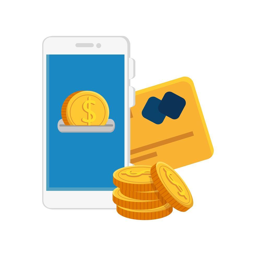 smartphone avec pièces et carte de crédit vecteur
