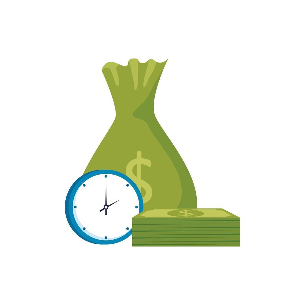 sac d & # 39; argent avec horloge et factures vecteur