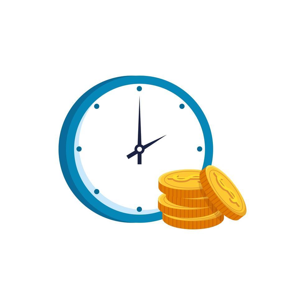 Pile de pièces avec icône isolé de temps horloge vecteur