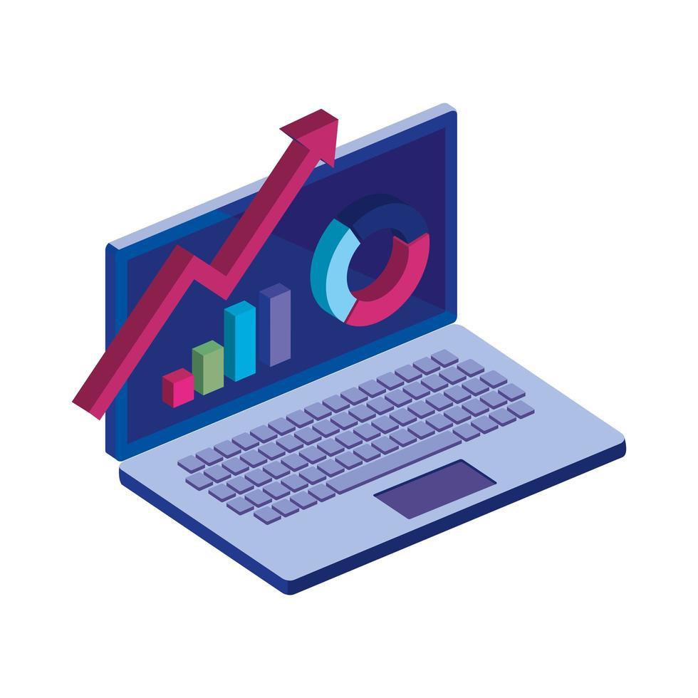 ordinateur portable avec icône isolé infographie vecteur