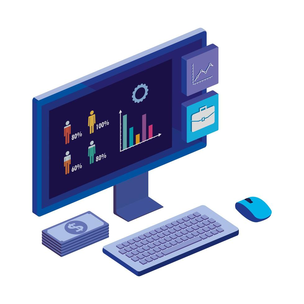 bureau d'ordinateur avec statistiques et application de menu vecteur
