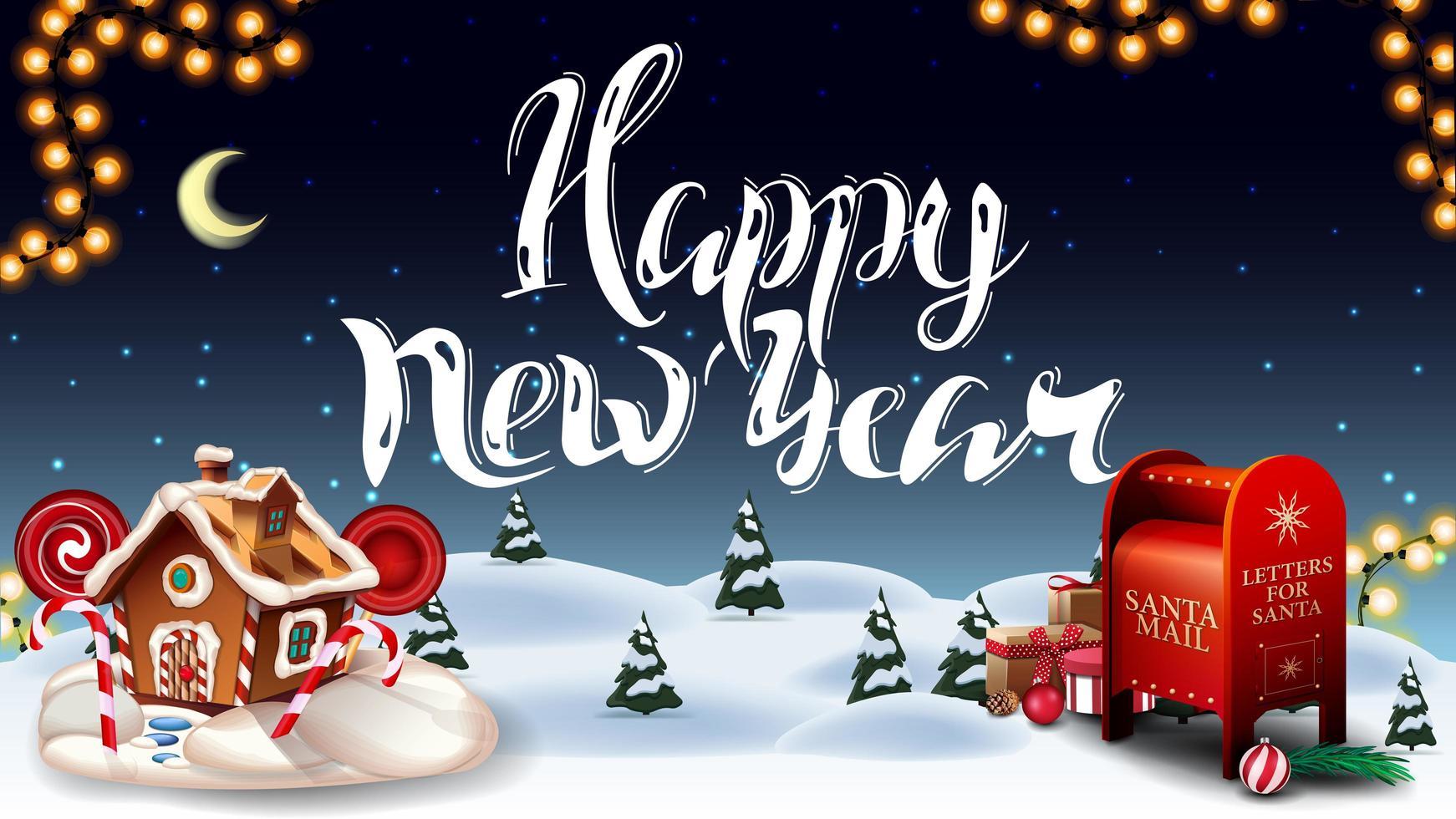 bonne année, carte postale de voeux avec forêt d'hiver de dessin animé, ciel étoilé, guirlande, beau lettrage, boîte aux lettres du père Noël avec des cadeaux et maison en pain d'épice de Noël vecteur