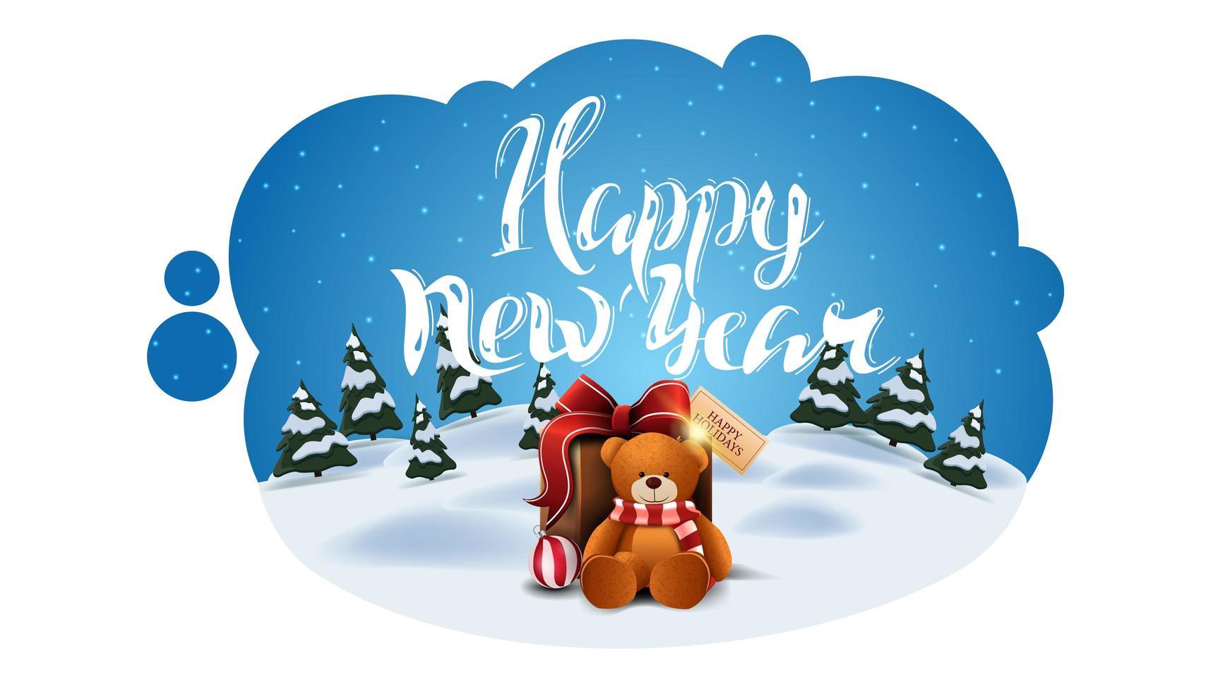 bonne année, carte postale de voeux sous forme de nuage abstrait avec paysage de dessin animé d'hiver et présent avec ours en peluche vecteur