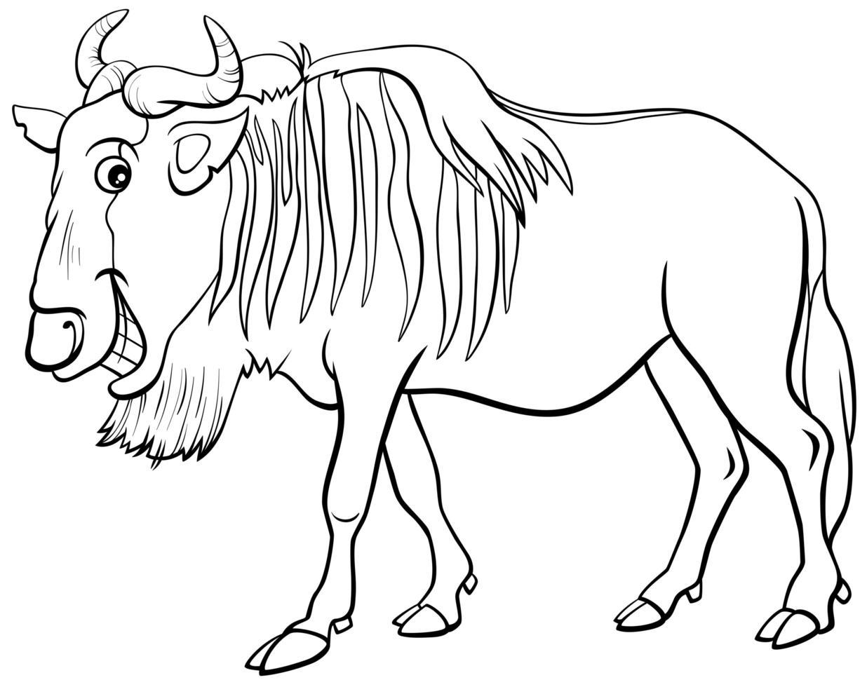 Antilope gnou ou personnage animal de dessin animé de gnou vecteur