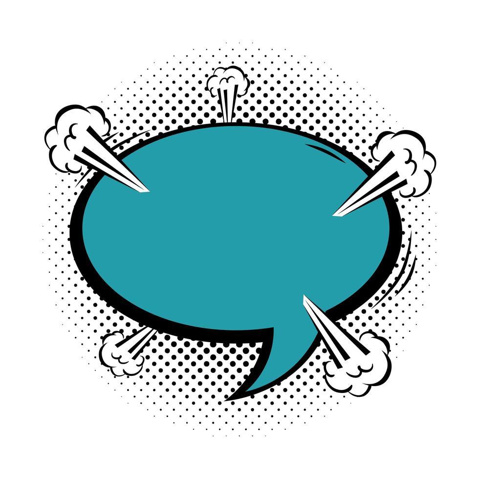 bulle de dialogue style pop art de couleur bleue vecteur