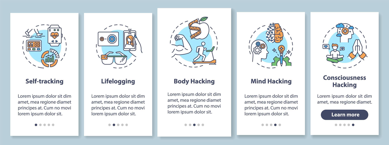Écran de page de l'application mobile d'intégration d'éléments de biohacking avec des concepts vecteur