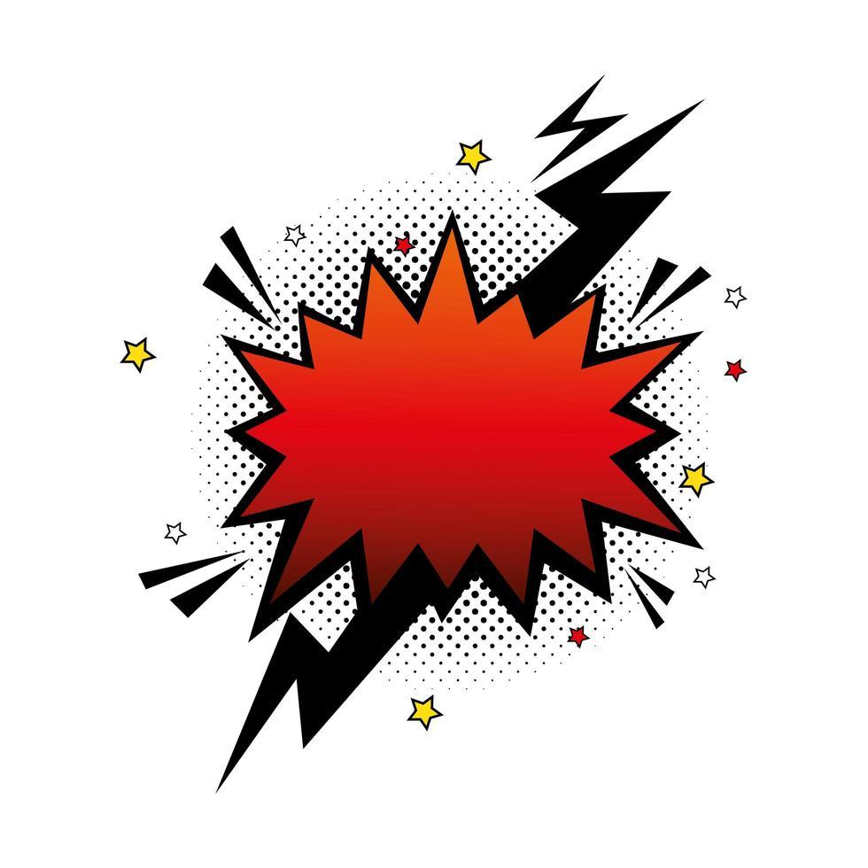 couleur rouge explosion avec icône de style pop art foudre vecteur