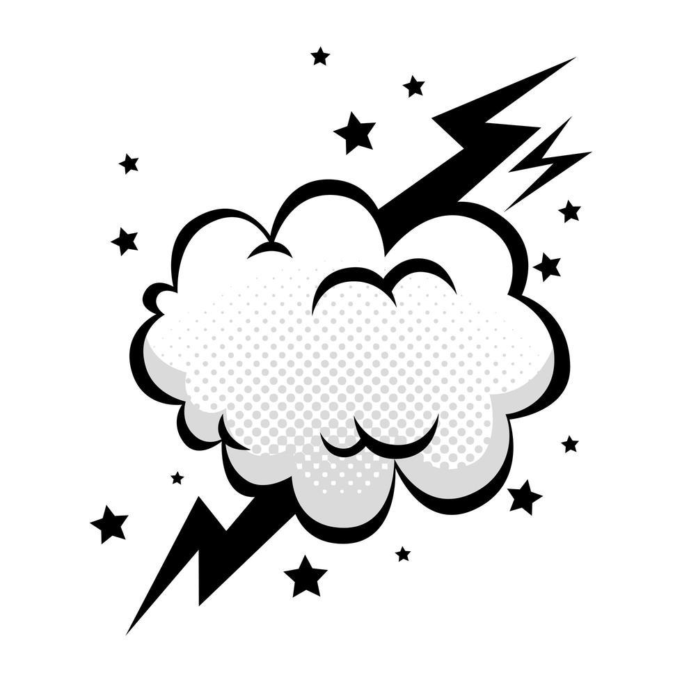 nuage avec foudre et étoiles icône de style pop art vecteur